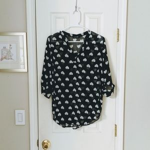 Black with White Hearts Pull-Over Tunic